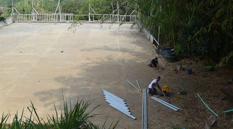 Bauarbeiten am Sportplatz